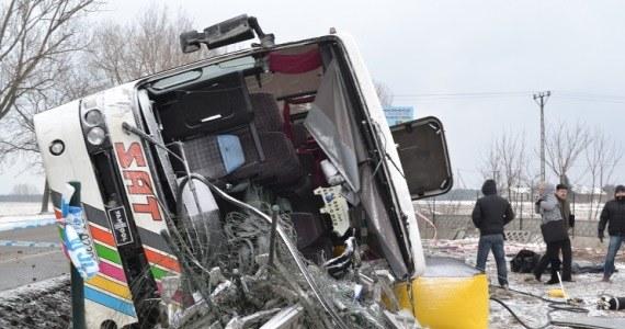 Przewrócony autobus na DK1 koło Włocławka /Paweł Balinowski /RMF FM