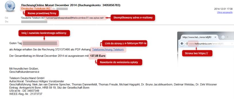 Przykład e-maila użytego w ataku typu spear phishing /materiały prasowe