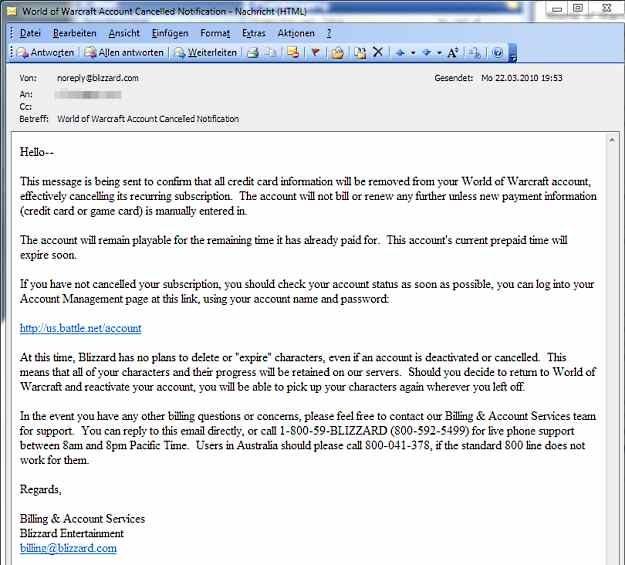 Przykład wiadomości phishingowej przeznaczonej dla fanów gry World of Warcraft /materiały prasowe