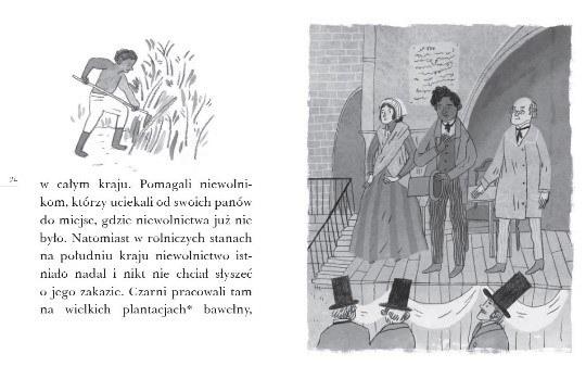 """Przykładowe strony książki """"Wakacje w Waszyngtonie. Historia Abrahama Lincolna"""" /materiały prasowe"""