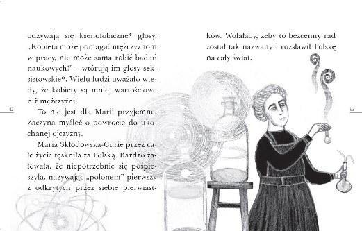 """Przykładowe strony z książki """"Droga do Nobla. O Marii Skłodowskiej-Curie"""" /materiały prasowe"""