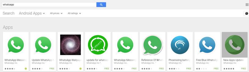 Przykłady aplikacji podszywających się pod WhatsApp /materiały prasowe