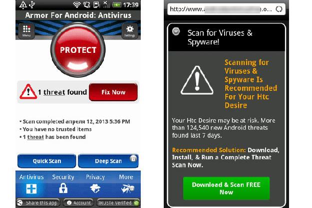 Przykłady fałszywych ostrzeżenia antywirusowe wyświetlane przez trojany Android.Fakealert /materiały prasowe