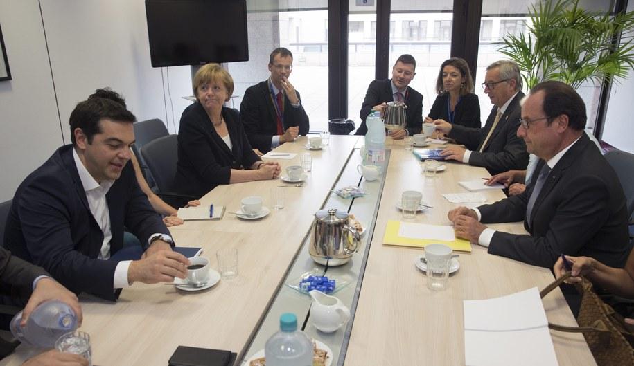 Przywódcy państw strefy euro spotkali się we wtorek na nadzwyczajnym szczycie w Brukseli /PHILIPPE WOJAZER /PAP/EPA