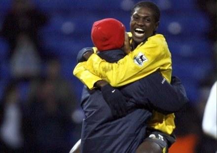 Radość Adebayora (z prawej) po końcowym gwizdku /AFP