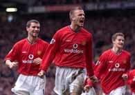 Radośc Davida Beckhama po strzeleniu bramki na 2:0 dla Manchesteru