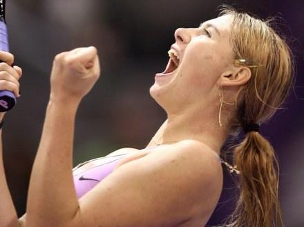 Radość Marii Szarapowej po zwycięstwie nad Jeleną Dementiewą /AFP