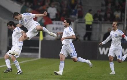 Radość piłkarzy reprezentacji Grecji /AFP