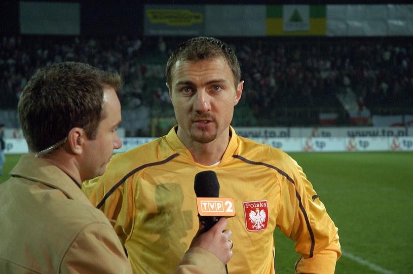 Rafał Patyra w rozmowie z Jerzym Dudkiem w 2005 roku po meczu z Azerbejdżanem /Tricolors /East News