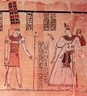 Ramzes III (z prawej) stojący przed Amonem, fragment papirusu z okresu XX dynastii /Encyklopedia Internautica