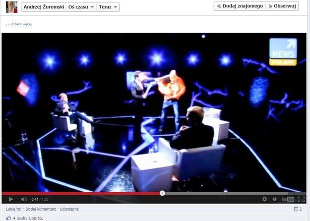 Raper podpalił się w programie w Polsat News /facebook.com