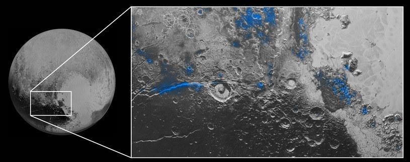 Rejony występowania wodnego lodu /NASA