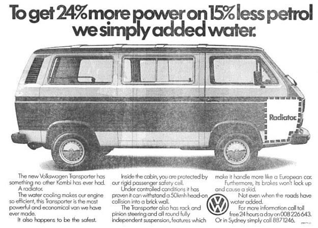 """Reklama T3 z epoki. """"Więcej mocy, niższe zużycie paliwa. Po prostu dodaliśmy wody"""" - głosi hasło. /Volkswagen"""