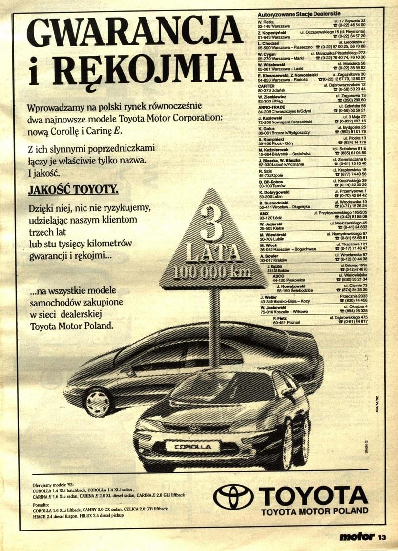 """Reklama Toyoty w tygodniku """"Motor"""" /"""