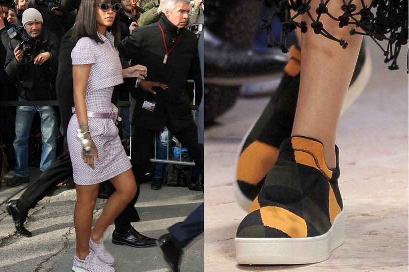 Rihanna w sneakersach od Chanel.  Wsuwane vansy z pokazu Celine/fot.Getty Images/EastNews Zeppelin /Styl.pl