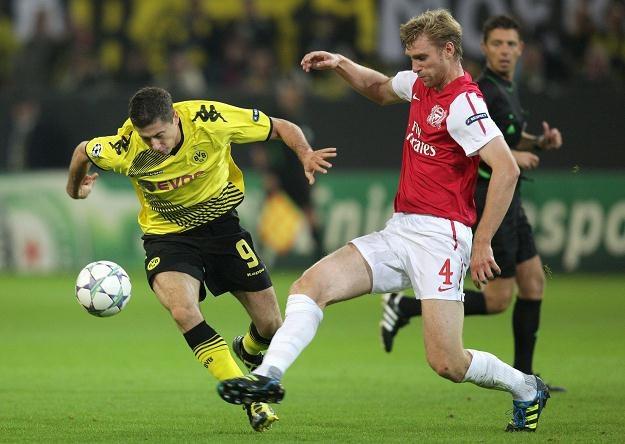 Robert Lewandowski w meczu z Arsenalem Londyn /PAP/EPA
