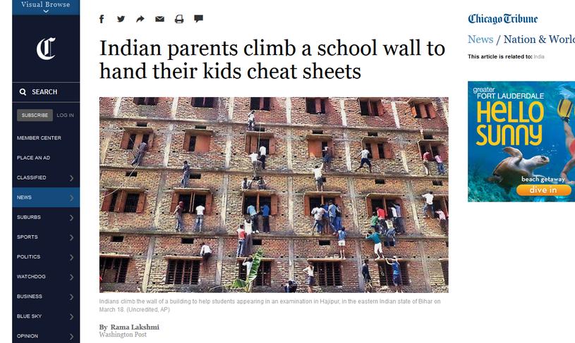 Rodzice i znajomi podają dzieciom przez okna ściągi /chicagotribune.com/AP /