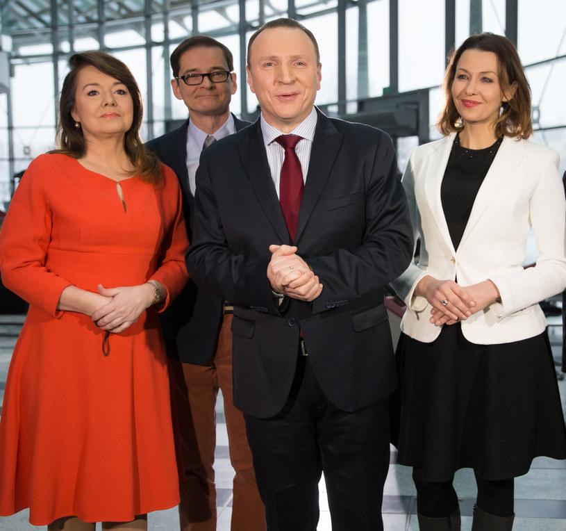 Rodzina TVP: Danuta Holecka, Przemek Babiarz, Jacek Kurski i Anna Popek /Krystian Maj /Agencja FORUM