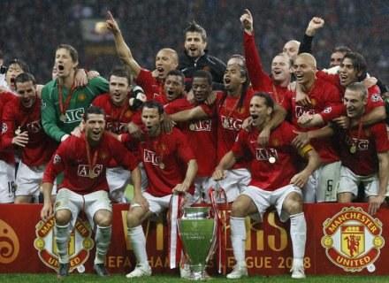Rok 2008 - piłkarze Man Utd świętują zwycięstwo nad Chelsea w Lidze Mistrzów /AFP