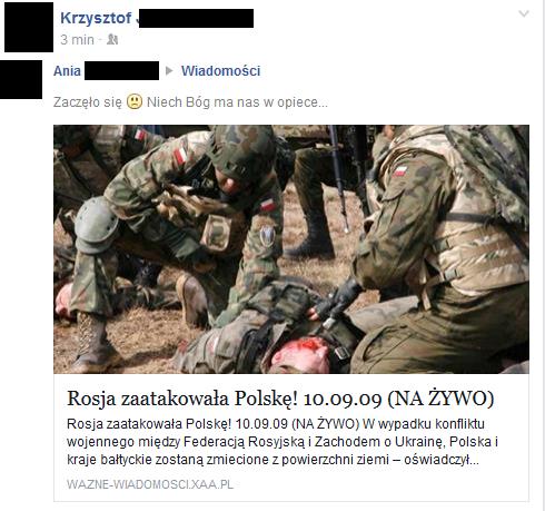 """""""Rosja zaatakowała Polskę"""", czyli kolejny przykład oszustwa na Facebooku. /materiały prasowe"""