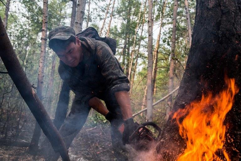 Rosjanie walcza z pożarami lasów na Syberii /PETR SHELOMOVSKIY / AFP /AFP