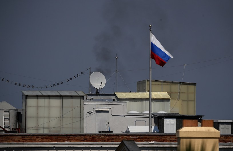 Rosyjska flaga i dym nad konsulatem Rosji w San Francisco /AFP