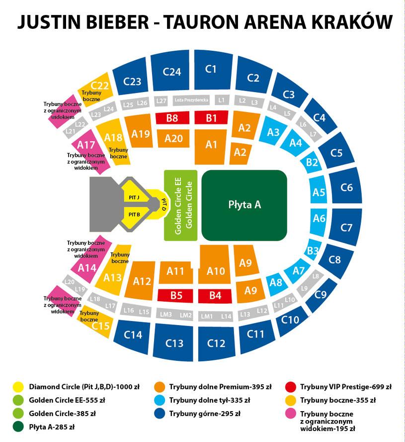 Rozkład miejsc na koncercie Justina Biebera w Tauron Arenie Kraków /materiały promocyjne