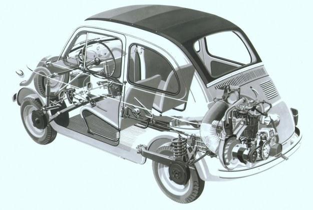 Rozmieszczenie poszczególnych zespołów Fiata 500 jest identyczne jak w Fiacie 600. /Fiat