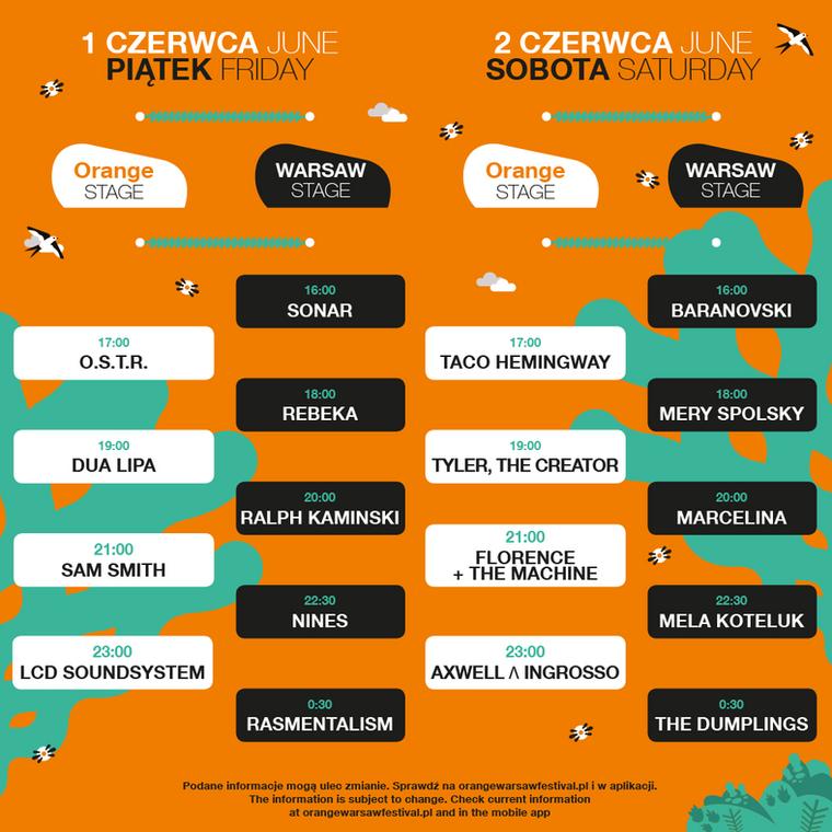Rozpiska godzinowa Orange Warsaw Festival 2018 /