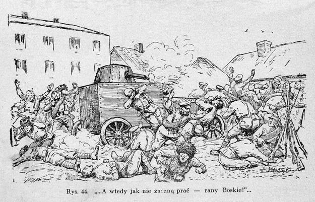Rycina przedstawiająca końcowe walki zagonu na Kowel - ilustracja pochodzi z książki Leonarda Żyrkiewicza
