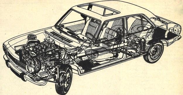 Rysunek anatomiczny samochodu Peugeot 504 GL z silnikiem wysokoprężnym Indenor o pojemności 2112 cm3, Przekładnia główna połączoną jest ze skrzynią za pomocą rury reakcyjnej. Zawieszenie kół tylnych niezależne na wahaczach skośnych, z przodu zwrotnice kolumnowe. Z przodu i z tyłu hamulce tarczowe. /Peugeot