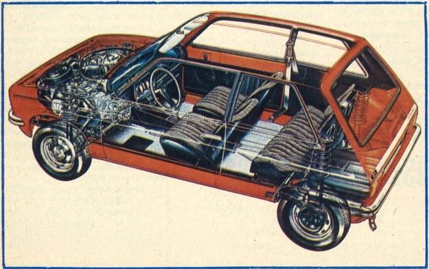 Rysunek anatomiczny samochodu. Proszę zwrócić uwagę jak duża część pojazdu jest przeznaczona dla ludzi i bagażu. /Citroen