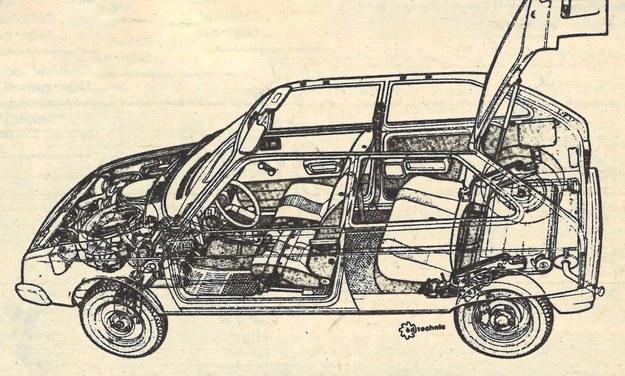Rysunek anatomiczny samochodu. W obu wersjach silnikowych, z racji leżacych cylindrów, można było umieścić koło zapasowe z przodu. /Motor