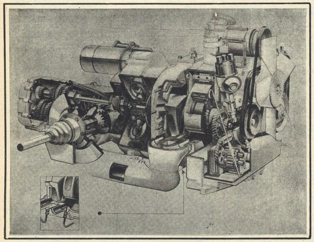 Rysunek przedstawia silnik Wankla z samochodu Ro 80 w jego najnowszej wersji. Dopiero wszakże silnik o mocy 165 KM, również o dwóch tłokach, będzie zbiorem rzeczywiście wszystkiego tego, co nauczono się o Wanklu w ciągu prawie 20 lat pracy nad nim. Czy uratuje to przyszłość silnika i całej koncepcji? Nie wiadomo. /Motor