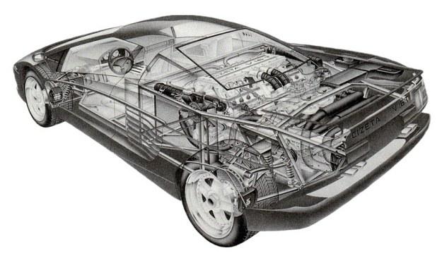 Rysunek przekrojowy modelu Cizeta pozwala zorientować się w natłoku panującym w komorze silnikowej, gdzie oprócz jednostki napędowej o 16 cylindrach pomieścić się muszą jeszcze dwie chłodnice z potężnymi wentylatorami. /Motor