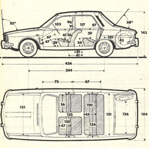 Rysunek wymiarowy samochodu. Ilość miejsca nad głowami, zarówno na siedzeniu przednim jak i tylnym, jest więcej niż wystarczająca. Szerokość siedzenia tylnego umożliwia przewożenie trzech osób na krótszych trasach. Długość ogólna samochodu odpowiada średniej wartości dla tej najważniejszej na rynku europejskim klasy pojemnościowej 1300. /Motor