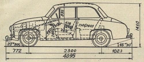 Rysunek wymiarowy samochodu. Wymiary podwójne podane są dla siedzenia w przednim i tylnym położeniu. /Motor