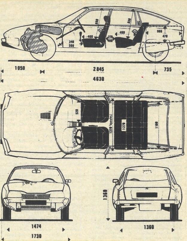 Rysunki wymiarowe samochodu. Citroen CX to wóz duży choć niski, o bardzo aerodynamicznej sylwetce. /Citroen