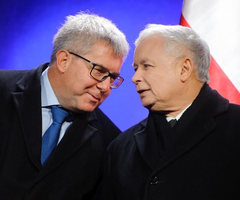 Ryszard Czarnecki i Jarosław Kaczyński /Fot. Rafal Oleksiewicz /Reporter