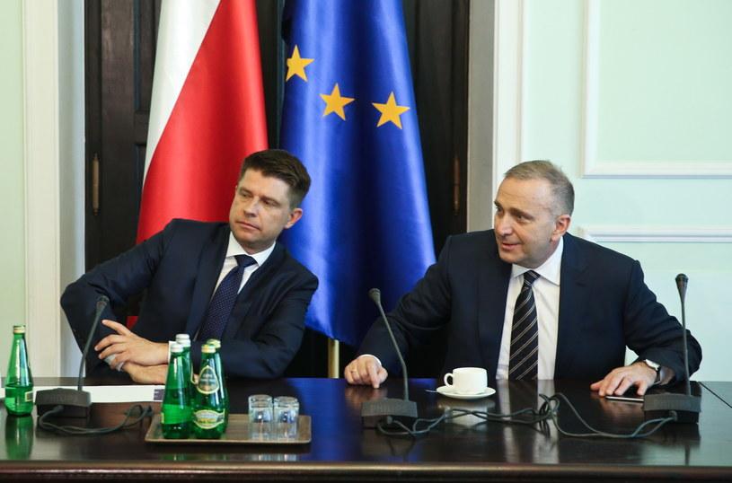 Ryszard Petru i Grzegorz Schetyna na spotkaniu ws. TK /Rafał Guz /PAP