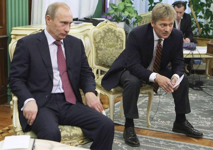 Rzecznik prezydenta Rosji Dmitrij Pieskow w towarzystwie Władimira Putina /ROSSIYA SEGODNYA /East News