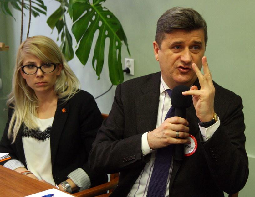 rzewodniczący Twojego Ruchu Janusz Palikot (P) i Anna Kubica (L). /Krzysztof Świderski /PAP