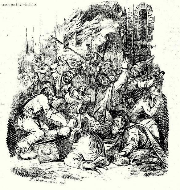 Rzeź Humania według ryciny z epoki /Odkrywca