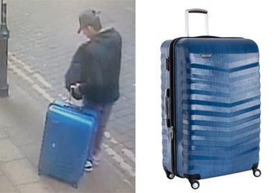 Salman Abedi z walizką. Na zdjęciu obok - replika walizki /http://www.gmp.police.uk /