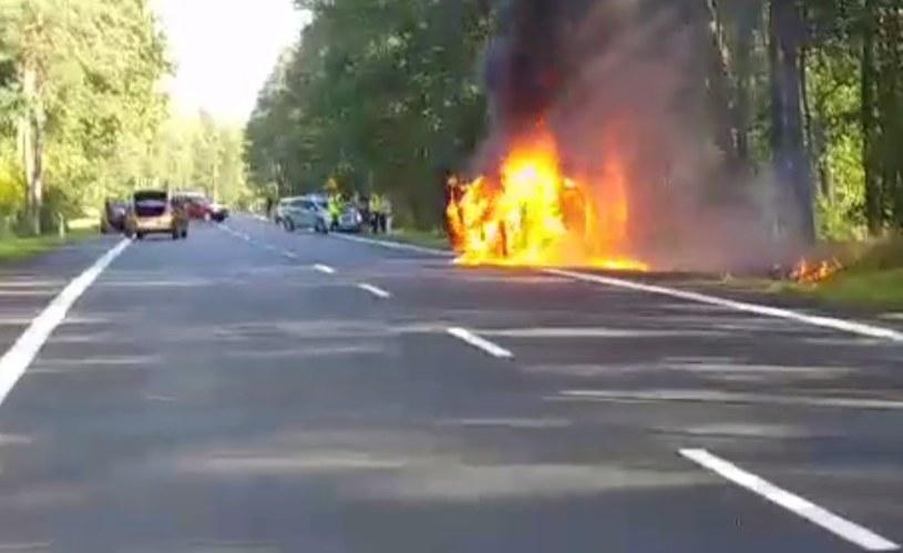 Samochód spłonął doszczętnie, na szczęście nie zajął się las i nikt nie ucierpiał /Policja