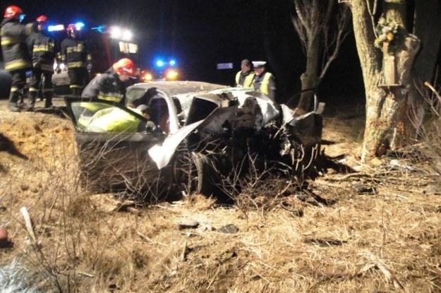 Samochód uderzył w drzewo /Policja
