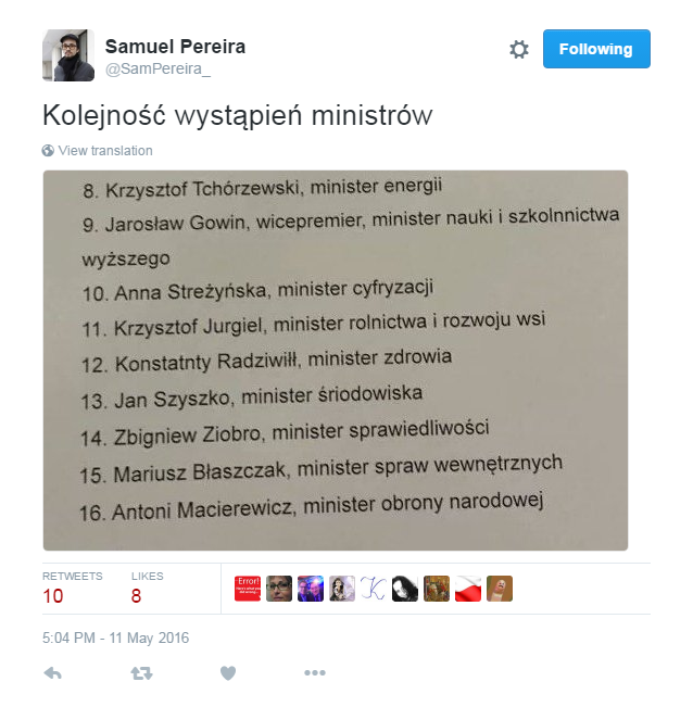 Samuel Pereira na Twitterze /Twitter