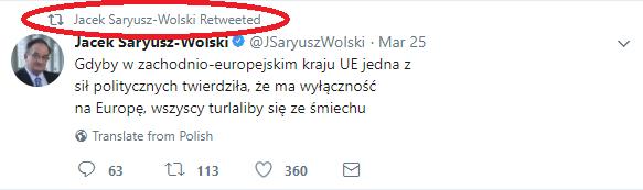 Saryusz-Wolski cytuje Saryusza-Wolskiego /Twitter