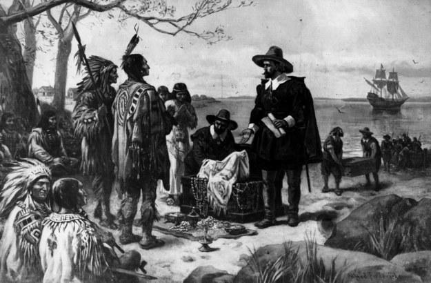 Scena zakupu od Indian wyspy Manhattan. Obraz Alfreda Fredericksa z poł. XVIII w.  Hulton Archive /Getty Images