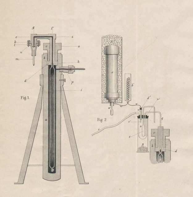 Schemat aparatury projektu prof. Zygmunta Wróblewskiego, użytej w ekperymentach ze skropleniem powietrza (ze zbiorów Biblioteki Jagiellońskiej) /Archiwum autora